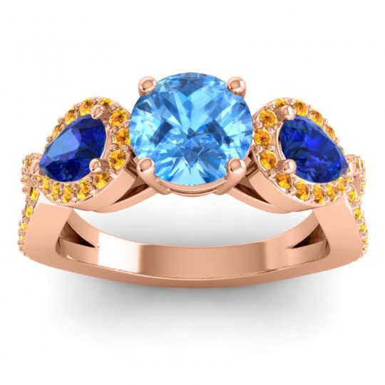 Three Stone Pave Varsa Swiss Blue Topaz Ring with Blue Sapphire and Citrine in 14K Rose Gold