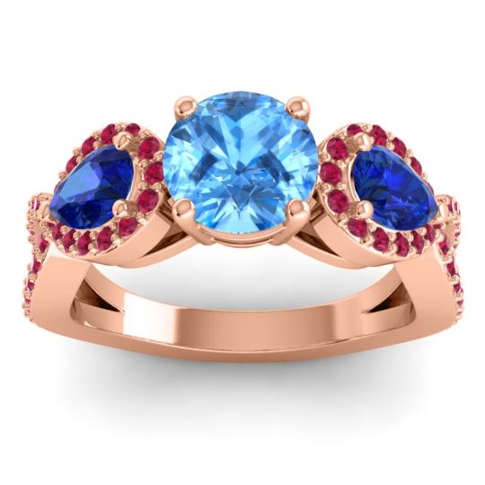 Three Stone Pave Varsa Swiss Blue Topaz Ring with Blue Sapphire and Ruby in 14K Rose Gold