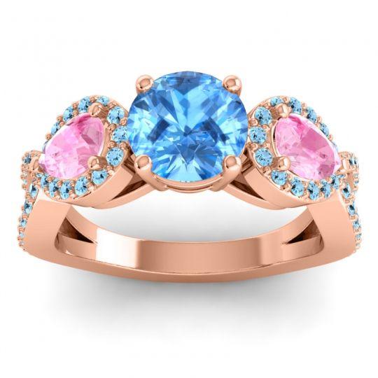 Three Stone Pave Varsa Swiss Blue Topaz Ring with Pink Tourmaline and Aquamarine in 14K Rose Gold