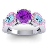 Three Stone Pave Varsa Amethyst Ring with Aquamarine and Pink Tourmaline in 18k White Gold