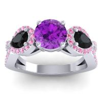 Three Stone Pave Varsa Amethyst Ring with Black Onyx and Pink Tourmaline in 18k White Gold