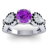 Three Stone Pave Varsa Amethyst Ring with Diamond and Black Onyx in 18k White Gold