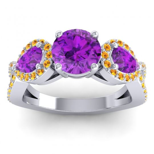 Three Stone Pave Varsa Amethyst Ring with Citrine in Platinum