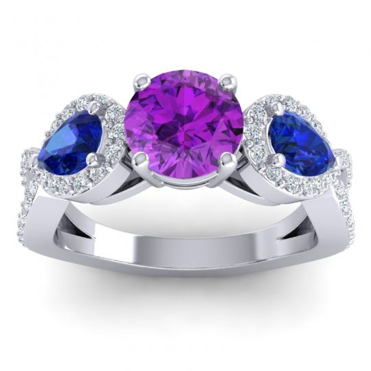 Three Stone Pave Varsa Amethyst Ring with Blue Sapphire and Diamond in Platinum