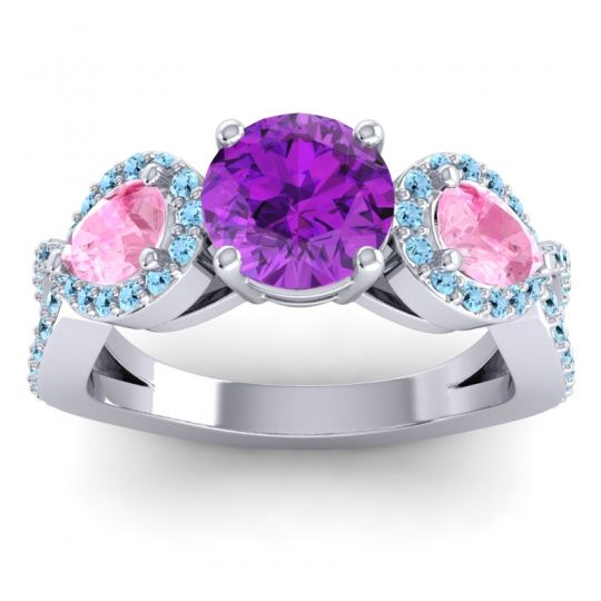 Three Stone Pave Varsa Amethyst Ring with Pink Tourmaline and Aquamarine in Platinum