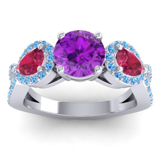 Three Stone Pave Varsa Amethyst Ring with Ruby and Swiss Blue Topaz in 14k White Gold