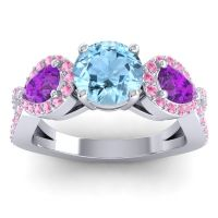 Three Stone Pave Varsa Aquamarine Ring with Amethyst and Pink Tourmaline in 18k White Gold