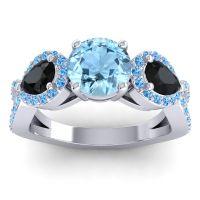 Three Stone Pave Varsa Aquamarine Ring with Black Onyx and Swiss Blue Topaz in Platinum