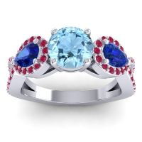 Three Stone Pave Varsa Aquamarine Ring with Blue Sapphire and Ruby in Palladium