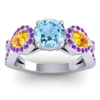 Three Stone Pave Varsa Aquamarine Ring with Citrine and Amethyst in 18k White Gold