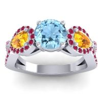 Three Stone Pave Varsa Aquamarine Ring with Citrine and Ruby in 14k White Gold