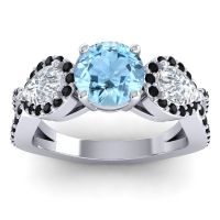 Three Stone Pave Varsa Aquamarine Ring with Diamond and Black Onyx in 18k White Gold