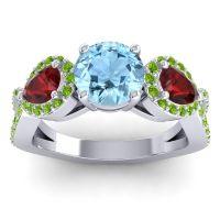 Three Stone Pave Varsa Aquamarine Ring with Garnet and Peridot in Platinum