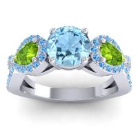 Three Stone Pave Varsa Aquamarine Ring with Peridot and Swiss Blue Topaz in Platinum