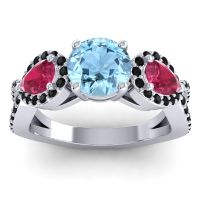 Three Stone Pave Varsa Aquamarine Ring with Ruby and Black Onyx in 18k White Gold