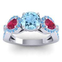 Three Stone Pave Varsa Aquamarine Ring with Ruby and Swiss Blue Topaz in Palladium