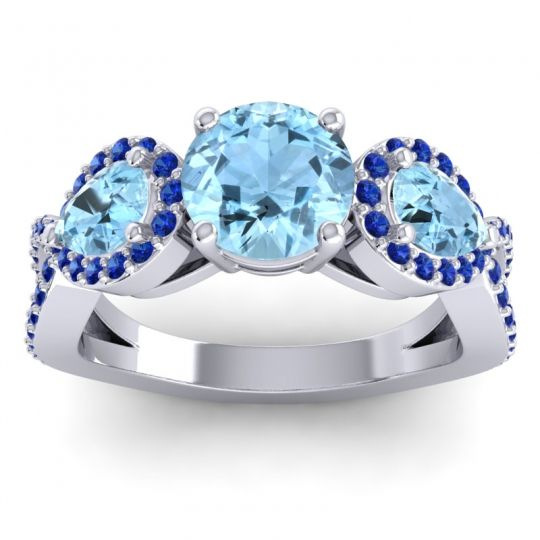 Three Stone Pave Varsa Aquamarine Ring with Blue Sapphire in 18k White Gold