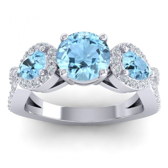 Three Stone Pave Varsa Aquamarine Ring with Diamond in Palladium