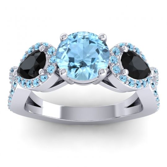 Three Stone Pave Varsa Aquamarine Ring with Black Onyx in 14k White Gold