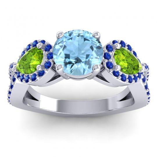 Three Stone Pave Varsa Aquamarine Ring with Peridot and Blue Sapphire in Platinum
