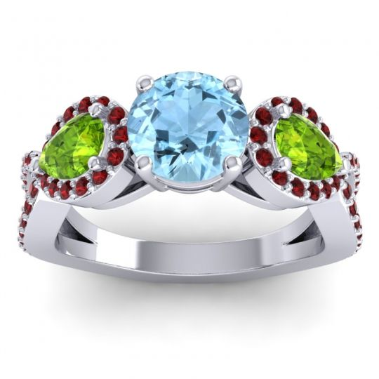 Three Stone Pave Varsa Aquamarine Ring with Peridot and Garnet in Palladium