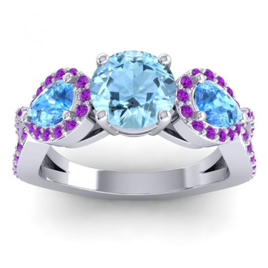 Three Stone Pave Varsa Aquamarine Ring with Swiss Blue Topaz and Amethyst in 18k White Gold