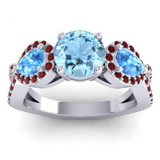 Three Stone Pave Varsa Aquamarine Ring with Swiss Blue Topaz and Garnet in Palladium