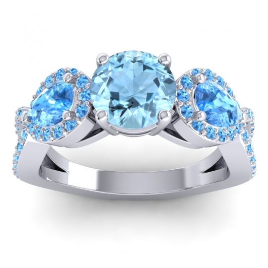Three Stone Pave Varsa Aquamarine Ring with Swiss Blue Topaz in 14k White Gold