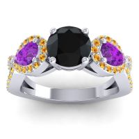 Three Stone Pave Varsa Black Onyx Ring with Amethyst and Citrine in Platinum