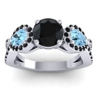 Black Onyx Three Stone Pave Varsa Ring with Aquamarine in Platinum