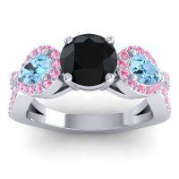 Three Stone Pave Varsa Black Onyx Ring with Aquamarine and Pink Tourmaline in Palladium