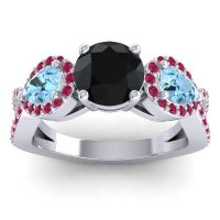 Three Stone Pave Varsa Black Onyx Ring with Aquamarine and Ruby in 14k White Gold