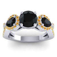 Three Stone Pave Varsa Black Onyx Ring with Citrine in 18k White Gold