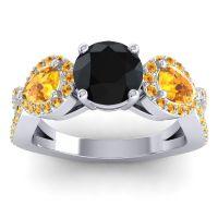 Three Stone Pave Varsa Black Onyx Ring with Citrine in 14k White Gold