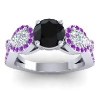Three Stone Pave Varsa Black Onyx Ring with Diamond and Amethyst in 18k White Gold