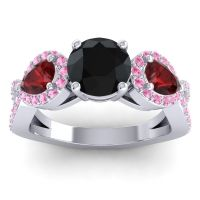 Three Stone Pave Varsa Black Onyx Ring with Garnet and Pink Tourmaline in Platinum