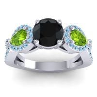 Three Stone Pave Varsa Black Onyx Ring with Peridot and Aquamarine in Platinum