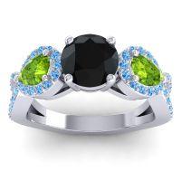 Three Stone Pave Varsa Black Onyx Ring with Peridot and Swiss Blue Topaz in Platinum