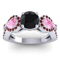 Three Stone Pave Varsa Black Onyx Ring with Pink Tourmaline and Garnet in 18k White Gold