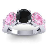 Three Stone Pave Varsa Black Onyx Ring with Pink Tourmaline in Palladium