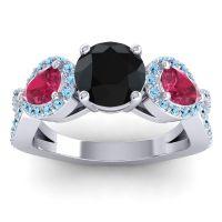 Three Stone Pave Varsa Black Onyx Ring with Ruby and Aquamarine in Palladium