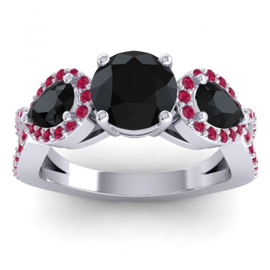Three Stone Pave Varsa Black Onyx Ring with Ruby in 14k White Gold