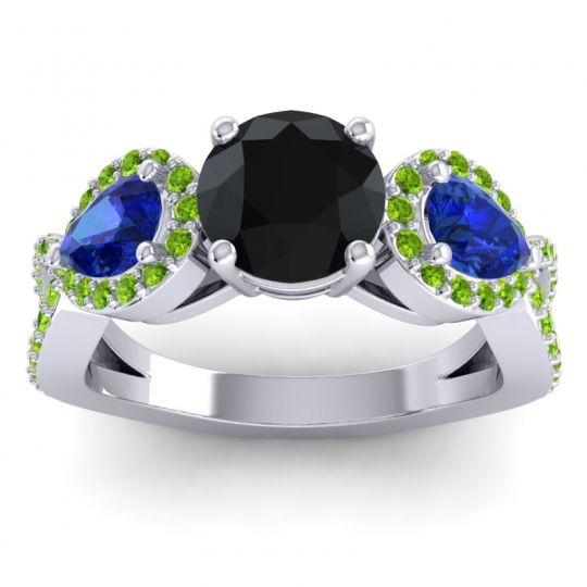 Three Stone Pave Varsa Black Onyx Ring with Blue Sapphire and Peridot in 18k White Gold