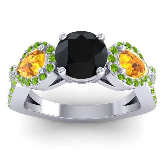 Three Stone Pave Varsa Black Onyx Ring with Citrine and Peridot in Platinum