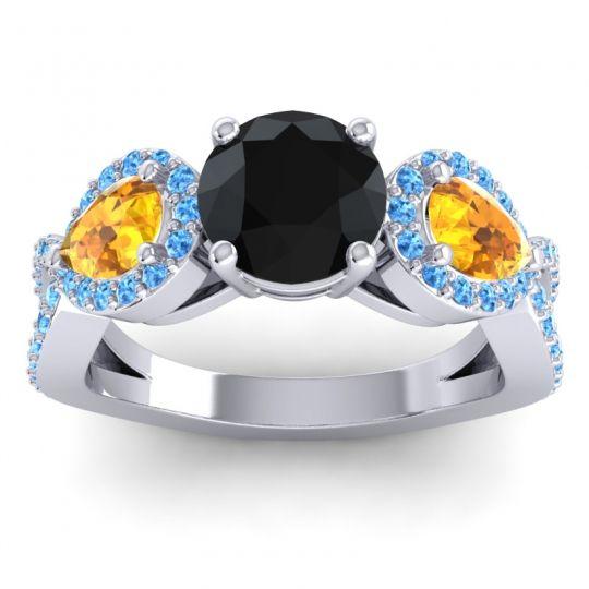 Three Stone Pave Varsa Black Onyx Ring with Citrine and Swiss Blue Topaz in Platinum