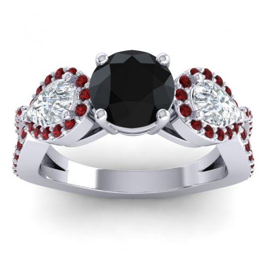 Three Stone Pave Varsa Black Onyx Ring with Diamond and Garnet in Palladium