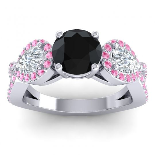 Three Stone Pave Varsa Black Onyx Ring with Diamond and Pink Tourmaline in 14k White Gold