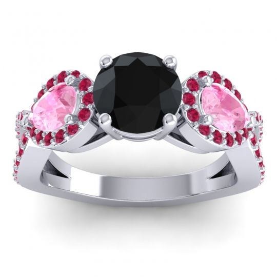 Three Stone Pave Varsa Black Onyx Ring with Pink Tourmaline and Ruby in 14k White Gold