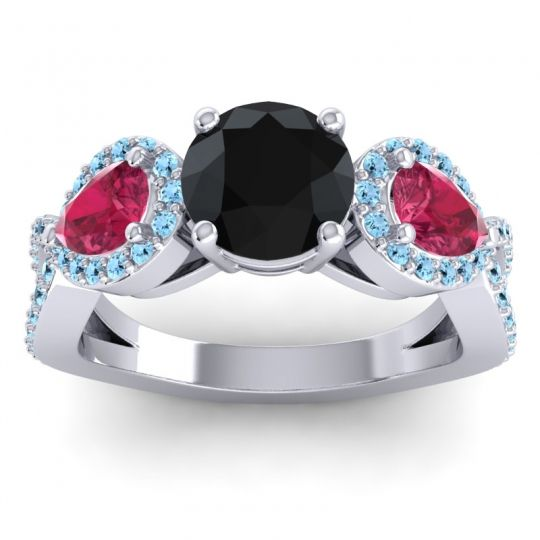 Three Stone Pave Varsa Black Onyx Ring with Ruby and Aquamarine in 18k White Gold