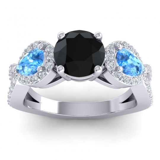 Three Stone Pave Varsa Black Onyx Ring with Swiss Blue Topaz and Diamond in Palladium